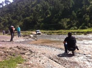 Fording the river at Sadhupul